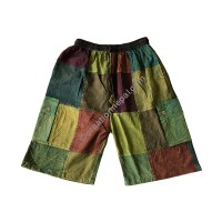 Green toned plain patch work shorts