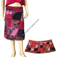 Patch work button adjustable Red open skirt