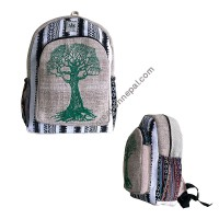 Large tree hemp-cotton backpack