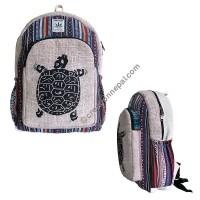 Turtle print hemp-cotton backpack