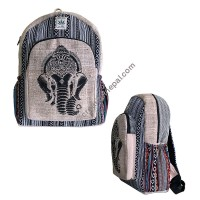 Ganesha-head hemp-cotton backpack