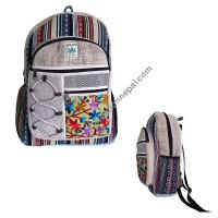 Patch pocket hemp-cotton backpack