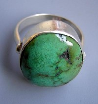 Turquoise stone silver finger ring 2