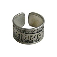 Tibetan mantra finger ring