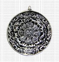 Mediun round white metal calendar