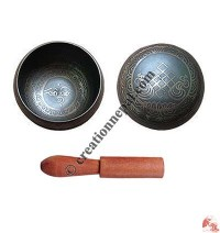Tibetan signs printed singing bowl