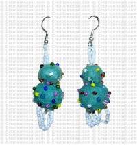 Felt-Pote beads ear ring
