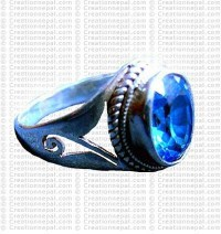 Blue Zircon stone finger ring