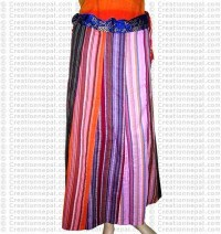 Stripped cotton joined long skirt-24