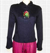 Woman-embroidery hooded t-shirt