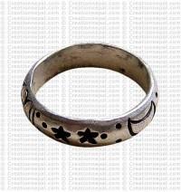 White metal space design ring