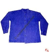 Stone wash shyama round neck shirt-blue