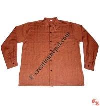 Shyama cotton round neck plain shirt-orange
