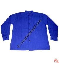Shyama cotton round neck plain shirt-blue