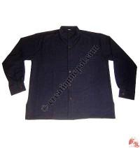 Shyama cotton round neck plain shirt-black