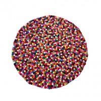 Felt balls round rug - 90 cm