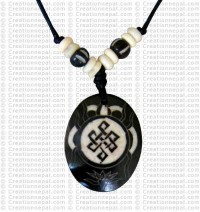 Oval Endless knot art amulet