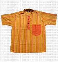 Short sleeves patch pocket adult shirt- yellow