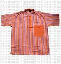Short sleeves patch pocket adult shirt-orange
