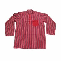 Long sleeves patch pocket adult shirt- red