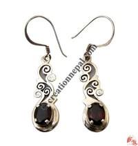 Garnet silver plant ear rings