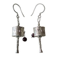 Prayer wheel silver earring