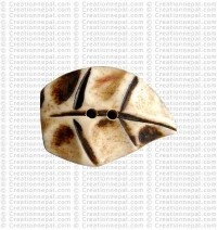 Leaf shape bone large button 2 (packet of 10)
