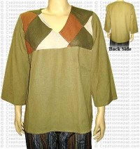 Upper front patch cotton top