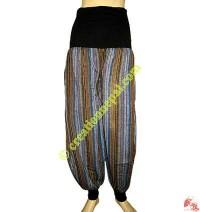 Stripes cotton ribbed elastic trouser
