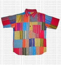 Cotton patch-work half shirt