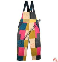 Thin cotton patch-work dungaree