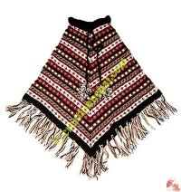 Mixed color woolen poncho