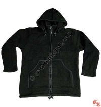 Zip-off hood woolen jacket - plain