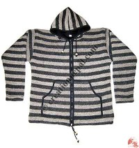 Simple stripes woolen jacket