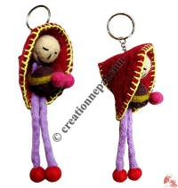 Doll design felt key-ring