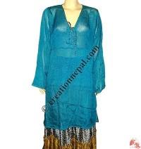 Sari silk long sleeves top dress02