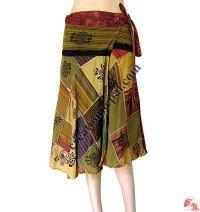 Cotton patch-work print wrapper open skirt