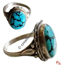 Oval shape turquoise silver finger ring18