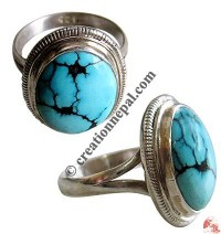 Oval shape turquoise silver finger ring19