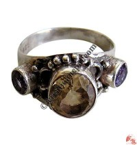 Yellow topaz and amethyst silver finger ring