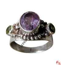 Amethyst and peridot silver finger ring