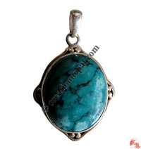 Oval shape turquoise silver pendant6