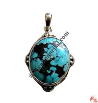 Oval shape turquoise silver pendant7