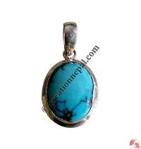 Oval shape turquoise tiny pendant
