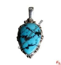 Heart shape turquoise silver pendant3