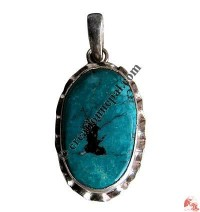 Oval shape turquoise silver pendant8
