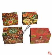 Small size wooden Tibetan painted simple box1