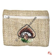 Hemp embroidered small coin purse