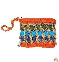 Hemp cotton crochet small coin purse1