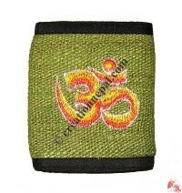 Om embroidery hemp wallet